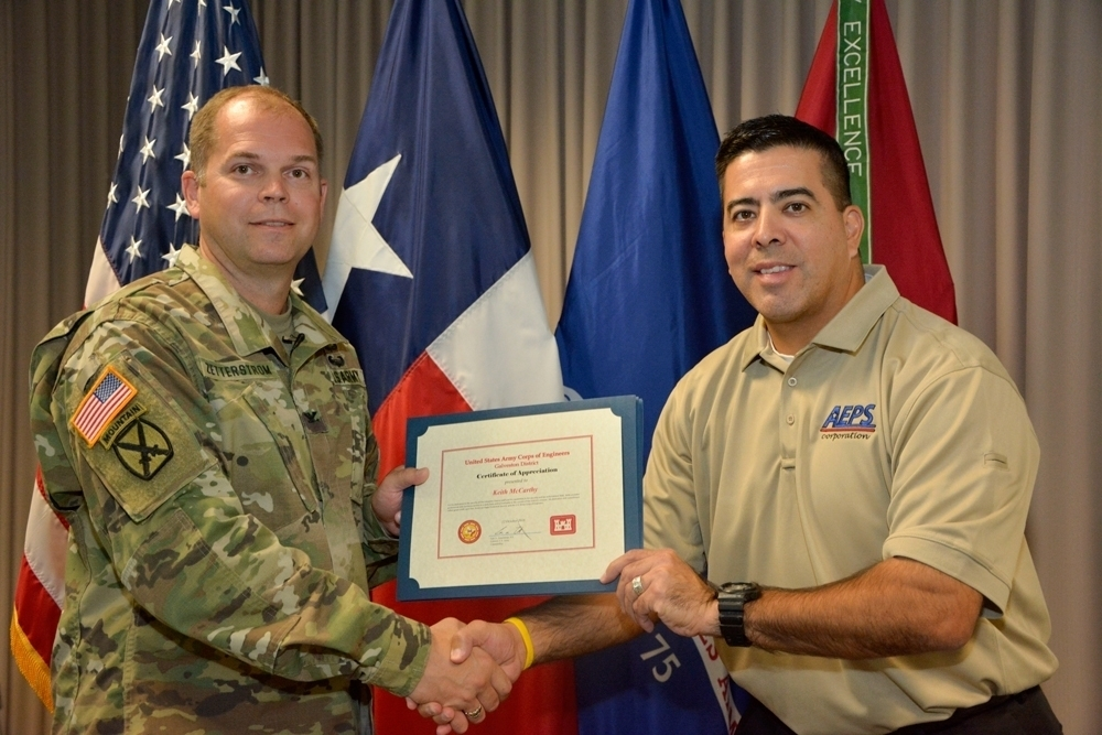 AEPS Receives Certificates of Appreciation from USACE